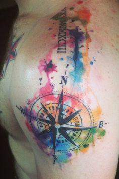 Compass by Britta Christiansen #InkedMagazine #compass #watercolor #tattoo #ink #inked #tattoos