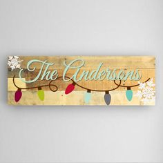 Personalized Holiday Canvas Sign! Christmas lights sign with your family's last name! Great for the mantelpiece.