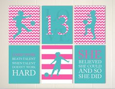 Children sports art, girls room art, soccer art, soccer girl, sports quotes, motivational art, set of 6, choose your colors and sports by PicabooArtStudio