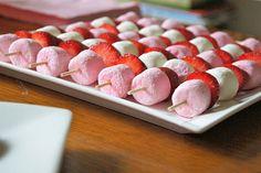 Marshmallow & strawberry kabobs.