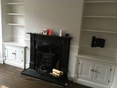 Bespoke alcove cupboards we created either side of a Chimney Breast Alcove Cupboards, Chimney Breast, Stoke On Trent, Bookcase, New Homes, Lounge, Colours, Flooring, Bespoke