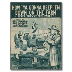 How Ya Gonna Keep 'Em Down On The Farm Postcard