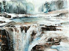 River, waterfall, rocks - Elbow Fall, Canada - by Lian Quan Zhen (b. China - ), USA
