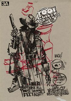 FOOTCUTTER COWBOT surprise during BAREBACK RIDER BEER GIRL PRUDENCE PASCHA AshleyWood   love Ashley style of putting drawings over each other..