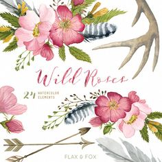 Wild Roses 24 Watercolor Elements hand painted by flaxandfox