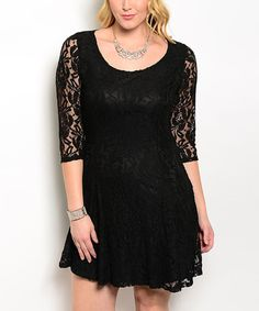 Look at this Black Lace Three-Quarter Sleeve Dress - Plus on #zulily today!