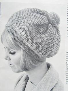 Knitted Hat Pattern Vintage Hat by vintageknitcrochet. Knitting Projects, Knitting Patterns, Knit Crochet, Crochet Hats, Knitting Accessories, Vintage Knitting, Knit Beanie, Vintage Patterns, Knitted Hats