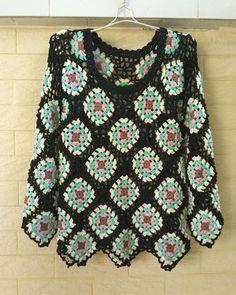 Crochet nonna piazza maglione pullover donna manica lunga
