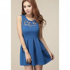 $10.89 Hollow Out Scoop Neck Polyester Sleeveless Solid Color Ladylike Style Dress For Women