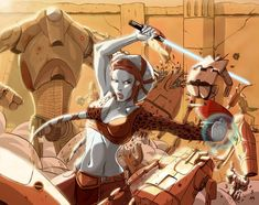 This fantastic depiction of Jedi Aayla Secura and Yoda was drawn by Mario Chavez. Star Wars Clone Wars, Star Wars Art, Star Wars History, Star Wars Books, Han And Leia, Star Wars Concept Art, Battle Droid, Star Wars Girls, Love Stars