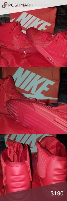 Nike air yeezys red October New, all red color, gold lace locks and travel bag. Nike Shoes Sneakers
