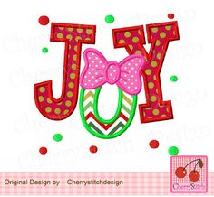 Christmas JOY,JOY with bow applique,Christmas Digital Applique -approximate 4x4 5x5 6x6 inch -Machine Embroidery Applique Design by CherryStitchDesign on Etsy