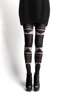 Patternity Totem nude Bauhaus tights via WeeBirdy.com