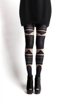 Patternity Totem nude Bauhaus tights via WeeBirdy.com