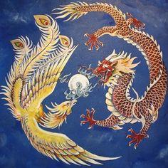 The phoenix is a symbol of the feminine spirit and the dragon is a symbol of the masculine. Dragon and Phoenix Tattoo Dragon And Phoenix, Phoenix Art, Phoenix Legend, Phoenix Tattoos, Pixel Tattoo, Chinese Culture, Chinese Art, Chinese Dragon Art, Learn Chinese