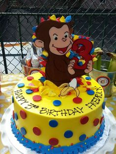 Creative Photo of Curious George Birthday Cake Curious George Birthday Cake Curious George Birthday Cake Riviera Bakehouse Birthdays Birthday Cake Kids Boys, Birthday Cake Pictures, 1st Birthday Cakes, Boy First Birthday, 3rd Birthday Parties, Birthday Cake Toppers, Birthday Ideas, Curious George Party, Curious George Cakes