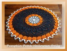 We're starting a brand new crochet-a-long!  It's for this Pumpkin Patch Halloween Doily delivered in 5 parts plus one additional part providing different options for working this doily!Rated: IntermediatePattern InformationMedium: 100% cotton thread, s