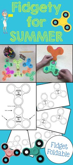 Your fidgety students will love this end of the year activity! This product is a foldable in the shape of a fidget spinner. Students will write or draw about: - People they'll see (this summer) - Treats they'll eat (this summer) - Chores they'll do (this summer) - Places they'll go (this summer) - Fun they'll have (this summer) -Custom topics (we've included a blank template) This product makes for a great end of year activity and will forever commemorate the year of the fidget spinner!