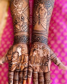 "~Tag your friends who believe in the age old belief of ""the darker the stain of mehendi, the deeper is the essence of his love"" 💏… Rajasthani Mehndi Designs, Peacock Mehndi Designs, Henna Designs Feet, Latest Bridal Mehndi Designs, Wedding Mehndi Designs, Mehndi Designs For Fingers, Dulhan Mehndi Designs, Tattoo Designs, Traditional Mehndi Designs"