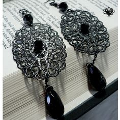 $11.50 Black Metal Lace Gothic Earrings