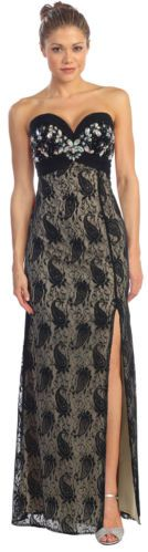 Strapless Paisley Lace Chiffon Prom Formal Evening Gown Party XS S M L XL 2X 3X