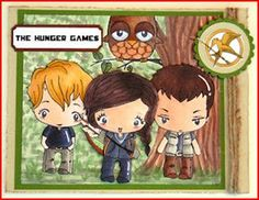 So I wasblow away by this amazing card from Larisa Hohman (aka Crafty Chic 17) she turned several kids from the Greeting Farm stamps into Katniss, Peeta andGale, love it!