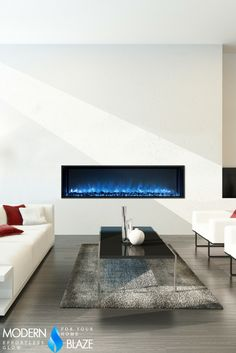 "This 60"" built-in electric fireplace is a perfect more affordable substitute for a linear gas fireplace."