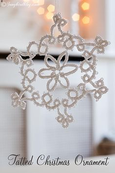 Homemade tatted lace Christmas ornaments stars/snowflakes
