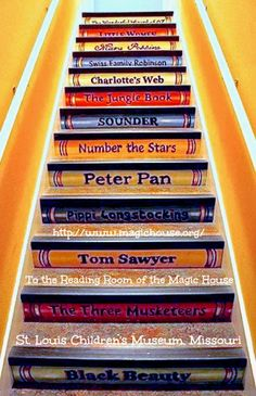 Book stairs to the Reading Room of The Magic House, St. Louis Children's Museum, Missouri, USA.  http://www.magichouse.org/ Photo-edited for detail. See original at link - pfb... If you like the image, credit the museum AND list/link directly to the original museum or archive website. Support our MUSEUMS (where funding is often iffy).
