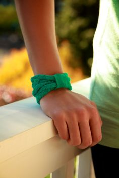 Here's a great tutorial for a DIY braided t-shirt bracelet