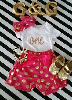 2a0a84ab43d1 New Gold One Birthday Outfit Cute Hot Pink by GlittersandGoldShop