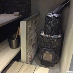 Sauna Design, Log Homes, Home Appliances, Wood, Saunas, Stove, Basement, House Ideas, Construction