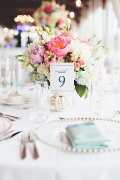 Cape Cod Wedding at Wychmere Beach Club from First Mate Photo Co. Wedding Reception Tables, Wedding Table Numbers, Wedding Centerpieces, Wedding Decorations, Blush Centerpiece, Summer Wedding, Our Wedding, Wedding Beach, Dream Wedding