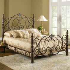 Beds And Headboards - page 39 Steel Bed Design, Wrought Iron Bed Frames, Wrought Iron Beds, Furniture, Iron Headboard, Beautiful Bedrooms, Bed, Wrought Iron Furniture, Bronze Bedroom