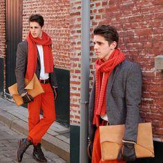 "Zara Grey Blazer, Asos Orange Scarf, River Woods Orange Velvet Trouser, Sprdlx 15"" Laptop Sleeve, Massimo Dutti Shirt"