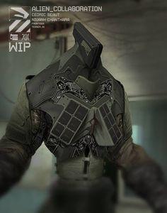 "Alien mech. 3D Model: Cedric Seaut. Overpaint: Nivanh Chanthara. (via <a href=""https://www.facebook.com/pages/DUSTER132/64121764387"">DUSTER132</a>)"