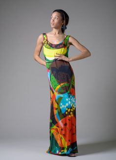 Vibrant Fruit Cocktail Maxi Dress by   my friend Elena Milena Krasteva