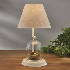 Bell Cloche Lamp with Lampshade Natural Home Decor, Lampshades, Earth Tones, Garden Tools, Table Lamp, Glass, Collection, Design, Lamp Shades