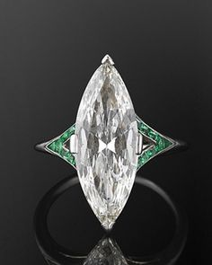Fred Leighton - Art Deco Marquise Diamond and Emerald Ring