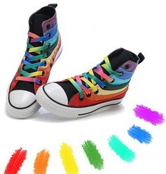 rain bow shoes | Rainbow nike shoes/Air Force One Rainbow Sneaker/Converse rainbow ...