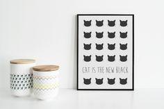 Poster grafico stampato - soggetto Cat is the new black, fondo bianco di Laboratoriografico su Etsy