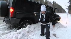 Hummer H3 Got Stuck in Snowy Ditch and Wife Complains about her shoes - ...