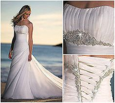 Sexy White ivory beach chiffon wedding dress custom all size 8 10 12 14 16 18+ in Clothing, Shoes & Accessories | eBay