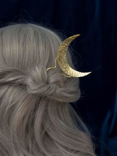 Items similar to Selene golden moon hair pin, Golden hair stick, hair decorations, brass moon hair stick on Etsy Hat Hairstyles, Vintage Hairstyles, Indian Eyes, Moon Jewelry, Jewelry Box, Jewellery, Golden Hair, Special Occasion Outfits, Crystal Crown