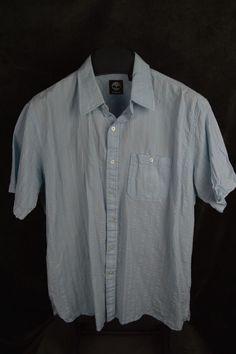 Timberland mens XL SS Light Blue striped button shirt FREE SHIPPING #Timberland #ButtonFront