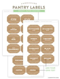 Free printable sets of pantry labels in two color choices. From Lia Griffith