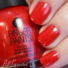 FingerPaints Vermillion $ Painting swatch via @alllacqueredup