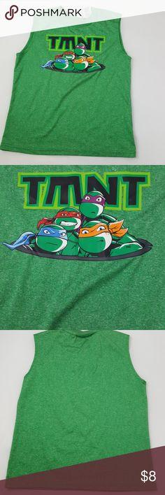 "Teenage Mutant Ninja Turtles Shirt Green TMNT Boys size 8 sleeveless style 18"" Long 14.5"" armpit to armpit  Bin D23 Nickelodeon Shirts & Tops Tank Tops"