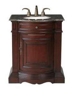 30 Inch Single Sink Bathroom Vanity with Rich Cherry Finish and a Baltic Brown Top