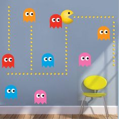 Wall Mural Decals, Wall Stickers, Bedroom Stickers, Pec Man, Deco Gamer, Game Room Design, Game Room Decor, Gamer Room, Playroom